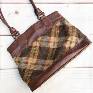 Mucros Weavers | Plaid Wool Tweed & Leather Tote